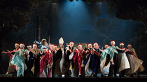 the worse for wear, Lords in IOLANTHE by Gilbert & Sullivan opening at English National Opera (ENO), London Coliseum WC2 on 13/02/2018  music: Arthur Sullivan  libretto: William Gilbert  conductor: Ti...
