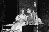 VOLPONE or The Fox by Ben Jonson set design: John Bury costumes: Deirdre Clancy lighting: David Hersey director: Peter Hall  Morag Hood (Celia), Paul Scofield (Volpone) Olivier Theatre, National Thea...
