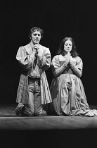 THE DUCHESS OF MALFI by John Webster design: William Dudley lighting: Andy Phillips director: Peter Gill ~Desmond Gill (Antonio Bologna), Judy Parfitt (The Duchess of Malfi) Royal Court Theatre, Londo...