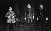ARDEN OF FAVERSHAM by Anonymous design: Annena Stubbs director: Buzz Goodbody ~l-r: Emrys James (Thomas Arden), David Bailie (Mosbie), Richard Mayes (Franklin)Royal Shakespeare Company (RSC) Theatre-g...