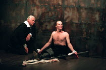 THE BROKEN HEART by John Ford design: Tom Piper lighting: Rick Fisher director: Michael Boyd  l-r: Philip Voss (Bassanes), Iain Glen (Orgilus) Royal Shakespeare Company (RSC), The Pit, Barbican Centr...