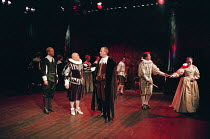 THE BROKEN HEART by John Ford design: Tom Piper lighting: Rick Fisher director: Michael Boyd  front, l-r: Anthony Naylor (Armostes), Ewan Hooper (Amyclas), Conrad Asquith (Crotolon), David Beames (Pr...