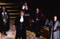 THE CRUCIBLE by Arthur Miller design: Bob Crowley lighting: Michael Calf directors: Barry Kyle & Nick Hamm   front centre: Julian Curry (Deputy-Governor Danforth) rear: Albie Woodington (Ezekiel Chee...