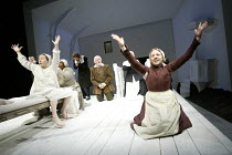 THE CRUCIBLE by Arthur Miller design: Lez Brotherston lighting: Paul Pyant director: Anna Mackmin ~left, on bed: Bryony Hannah (Betty Parris) right: Sinead Matthews (Abigail Williams)Crucible Theatre,...