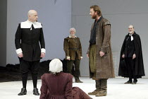THE CRUCIBLE by Arthur Miller design: Lez Brotherston lighting: Paul Pyant director: Anna Mackmin  middle left: Ian Bartholomew (Deputy-Governor Danforth) right: Douglas Henshall (John Proctor) Cruci...