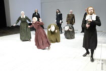 THE CRUCIBLE by Arthur Miller design: Lez Brotherston lighting: Paul Pyant director: Anna Mackmin  rear left: Mark Penfold (Judge Hathorne) centre: Colin Haigh (Thomas Putnam), John Burgess (Giles Co...