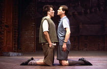 BLOOD BROTHERS book, music & lyrics by Willy Russell design: Marty Flood lighting: Jon Swain director: Bob Tomson  l-r: Con O'Neill (Mickey Johnstone), Robert Locke (Edward Lyons) Albery Theatre, Lon...