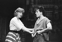 BLOOD BROTHERS book, music & lyrics by Willy Russell design: Marty Flood lighting: Jon Swain director: Bob Tomson  Kiki Dee (Mrs Johnstone), Con O'Neill (Mickey Johnstone) Albery Theatre, London WC2...