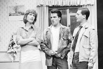 BLOOD BROTHERS book, music & lyrics by Willy Russell design: Marty Flood lighting: Jon Swain director: Bob Tomson  l-r: Kiki Dee (Mrs Johnstone), Con O'Neill (Mickey Johnstone), Robert Locke (Edward...