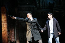 BLOOD BROTHERS book, music & lyrics by Willy Russell design: Marty Flood lighting: Jon Swain director: Bob Tomson & Bill Kenwright ~the robbery - l-r: Michael Southern (Sammy), Antony Costa (Mickey)~P...