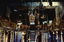 THE BEGGAR'S OPERA by John Gay music arrangement: Ilona Sekacz design: Kendra Ullyart lighting: David Hersey director: John Caird  stage, set, detail, London, ladders, steps, split level, baskets Roy...