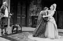 THE COUNTRY WIFE by William Wycherley design: John Bury lighting: Leonard Tucker director: Peter Hall  l-r: Robin Bailey (Sir Jasper Fidget), Albert Finney (Mr Horner), Elizabeth Spriggs (Lady Fidget...