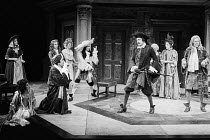 THE COUNTRY WIFE by William Wycherley design: John Bury lighting: Leonard Tucker director: Peter Hall  front left: Susan Littler (Margery Pinchwife), Albert Finney (Mr Horner) behind, l-r: Kenneth Cr...
