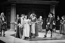 THE COUNTRY WIFE by William Wycherley design: John Bury lighting: Leonard Tucker director: Peter Hall  l-r: Robin Bailey (Sir Jasper Fidget), (rear) Kenneth Cranham (Mr Harcourt), Albert Finney (Mr H...