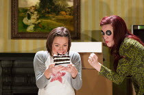 Mary Bevan (Coraline), Kitty Whateley (Other Mother - with button eyes) in the world premiere of CORALINE opening at the Barbican Theatre, London EC2 on 29/03/2018  a Royal Opera production music: Ma...