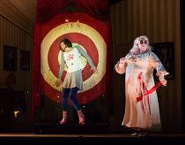 in the 'other' house - l-r: Mary Bevan (Coraline), Frances McCafferty (Miss Forcible) in the world premiere of CORALINE opening at the Barbican Theatre, London EC2 on 29/03/2018  a Royal Opera produc...