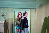 Kitty Whateley (Other Mother - with button eyes), Mary Bevan (Coraline) in the world premiere of CORALINE opening at the Barbican Theatre, London EC2 on 29/03/2018  a Royal Opera production music: Ma...