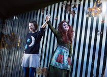 through the mirror: Mary Bevan (Coraline), Kitty Whateley (Other Mother - with button eyes) in the world premiere of CORALINE opening at the Barbican Theatre, London EC2 on 29/03/2018  a Royal Opera...