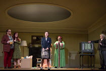 closing moments, a happy ending - l-r: Alexander Robin Baker (Father), Kitty Whateley (Mother), Mary Bevan (Coraline), Frances McCafferty (Miss Forcible), Harry Nicoll (Mr Bobo) in the world premiere...