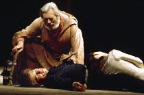 ROMEO AND JULIET by Shakespeare design: Chris Dyer lighting: Clive Morris director: Trevor Nunn   the lovers lie dead - l-r: Ian McKellen (Romeo), David Waller (Friar Lawrence), Francesca Annis (Julie...