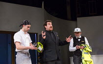 III/iii - the Watch of Messina - l-r: Silas Wyatt-Barke (George Seacole), Stewart Wright (Dogberry), Sam Dastor (Verges) in MUCH ADO ABOUT NOTHING by Shakespeare opening at the Rose Theatre Kingston o...