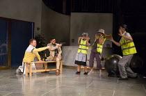 l-r: Caolan McCarthy (Conrad), Nicholas Prasad (Borachio), Katherine Toy (Jane Oatcake), Victoria Hamnett (Watchman), Silas Wyatt-Barke (George Seacole) in MUCH ADO ABOUT NOTHING by Shakespeare openin...