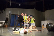 standing, l-r: Stewart Wright (Dogberry), Sam Dastor (Verges), Silas Wyatt-Barke (George Seacole), Victoria Hamnett (Watchman), Katherine Toy (Jane Oatcake) with (lying on stage) Caolan McCarthy (Conr...