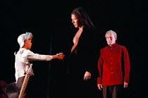 DON JUAN by Moliere design: Maria Geber lighting: Ellen Ruge directed & choreographed by Mats Ek  Don Juan meets The Commander, l-r: Alexander Gylemo (The Commander), Mikael Persbrandt (Don Juan), Ni...