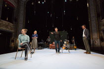 front, l-r: Seana Kerslake (Cat), Jemma Redgrave (Vanessa), Ben Chaplin (Bernard), Pip Carter (Ramsey) in MOOD MUSIC by Joe Penhall opening at The Old Vic on Wednesday 2nd May 2018  set design: Hilde...
