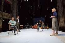 front, l-r: Seana Kerslake (Cat), Pip Carter (Ramsey), Ben Chaplin (Bernard), Jemma Redgrave (Vanessa) in MOOD MUSIC by Joe Penhall opening at The Old Vic on Wednesday 2nd May 2018  set design: Hilde...