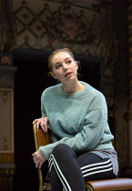 Seana Kerslake (Cat) in MOOD MUSIC by Joe Penhall opening at The Old Vic on Wednesday 2nd May 2018 ~set design: Hildegard Bechtler costumes: Dinah Collin lighting: Rick Fisher director: Roger Michell...