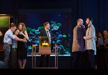 l-r: Samuel Boden (Boy, later Young King), Ocean Barrington-Cook (Girl), Barbara Hannigan (Isabel), Peter Hoare (Mortimer), Stephane Degout (King), Gyula Orendt (Gaveston) in LESSONS IN LOVE AND VIOLE...