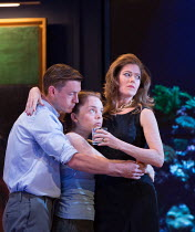 l-r: Samuel Boden (Boy, later Young King), Ocean Barrington-Cook (Girl), Barbara Hannigan (Isabel) in LESSONS IN LOVE AND VIOLENCE by George Benjamin and Martin Crimp opening at The Royal Opera, Coven...