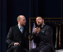 l-r: Stephane Degout (King), Gyula Orendt (Gaveston) in LESSONS IN LOVE AND VIOLENCE by George Benjamin and Martin Crimp opening at The Royal Opera, Covent Garden, London WC2 on 10/05/2018  music and...