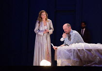 Barbara Hannigan (Isabel), Stephane Degout (King) in LESSONS IN LOVE AND VIOLENCE by George Benjamin and Martin Crimp opening at The Royal Opera, Covent Garden, London WC2 on 10/05/2018   music and co...