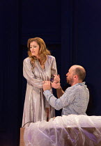 Barbara Hannigan (Isabel), Stephane Degout (King) in LESSONS IN LOVE AND VIOLENCE by George Benjamin and Martin Crimp opening at The Royal Opera, Covent Garden, London WC2 on 10/05/2018  music and con...