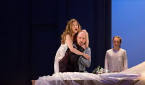 l-r: Barbara Hannigan (Isabel), Stephane Degout (King), Ocean Barrington-Cook (Girl) in LESSONS IN LOVE AND VIOLENCE by George Benjamin and Martin Crimp opening at The Royal Opera, Covent Garden, Lond...