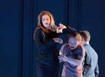 Barbara Hannigan (Isabel), Ocean Barrington-Cook (Girl) in LESSONS IN LOVE AND VIOLENCE by George Benjamin and Martin Crimp opening at The Royal Opera, Covent Garden, London WC2 on 10/05/2018  music a...