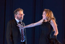 Peter Hoare (Mortimer), Barbara Hannigan (Isabel) in LESSONS IN LOVE AND VIOLENCE by George Benjamin and Martin Crimp opening at The Royal Opera, Covent Garden, London WC2 on 10/05/2018  music and con...