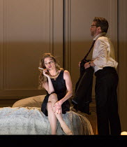 Barbara Hannigan (Isabel), Peter Hoare (Mortimer) in LESSONS IN LOVE AND VIOLENCE by George Benjamin and Martin Crimp opening at The Royal Opera, Covent Garden, London WC2 on 10/05/2018  music and con...
