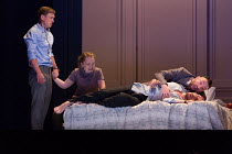 l-r: Samuel Boden (Boy, later Young King), Ocean Barrington-Cook (Girl), Stephane Degout (King), (top) Gyula Orendt (Gaveston) in LESSONS IN LOVE AND VIOLENCE by George Benjamin and Martin Crimp openi...