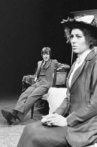 EXILES by James Joyce set design: Eileen Diss costumes: Robin Fraser Paye lighting: David Adams director: Harold Pinter  John Wood (Richard Rowan), Lynn Farleigh (Beatrice Justice) Mermaid Theatre, L...