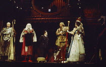 THE BALCONY by Jean Genet design: Farrah lighting: Stewart Leviton director: Terry Hands  l-r: T.P. McKenna (Bishop), Clement McCallin (Judge), Barry Stanton (Chief of Police), Philip Locke (General)...