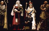 THE BALCONY by Jean Genet design: Farrah lighting: Stewart Leviton director: Terry Hands  l-r: T.P. McKenna (Bishop), Clement McCallin (Judge), Barry Stanton (Chief of Police), Brenda Bruce (Irma), P...
