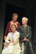 THREE TALL WOMEN by Edward Albee set design: Carl Toms costumes: Tom Rand lighting: Leonard Tucker director: Anthony Page   l-r: (front) Samantha Bond, Sara Kestelman, Maggie Smith Wyndham's Theatre...