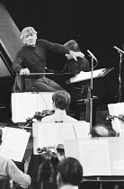 Leonard Bernstein (American conductor & composer - 1918-1990) with Michel Beroff (piano) rehearsing the London Symphony Orchestra (LSO)   Stravinsky Memorial Concert, Royal Albert Hall, London 04/197...