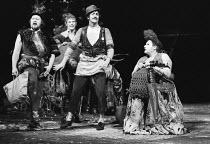 MEASURE FOR MEASURE by Shakespeare design: Maria Bjornson lighting: John Bradley & Keith Hack director: Keith Hack  l-r: Barry Stanton (Lucio), James Aubrey (Froth), James Booth (Pompey), Dan Meaden...