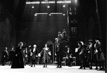 MEASURE FOR MEASURE by Shakespeare design: Bob Crowley lighting: Robert Bryan director: Adrian Noble  Isabella accuses Angelo - front left, l-r: Juliet Stevenson (Isabella), Joseph O'Conor (Escalus),...