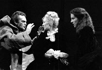 MEASURE FOR MEASURE by Shakespeare design: Bob Crowley lighting: Robert Bryan director: Adrian Noble  l-r: Daniel Massey (Duke Vincentio - in disguise), Emma Watson (Mariana), Juliet Stevenson (Isabe...
