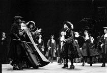MEASURE FOR MEASURE by Shakespeare design: Bob Crowley lighting: Robert Bryan director: Adrian Noble  rear left: Juliet Stevenson (Isabella) left, detained and struggling: Daniel Massey (Duke Vincent...